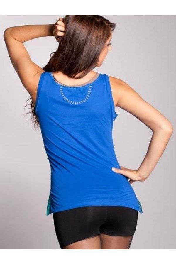 αμάνικο με ραντάκι tshirt με πολύχρωμο τύπωμα μπλε