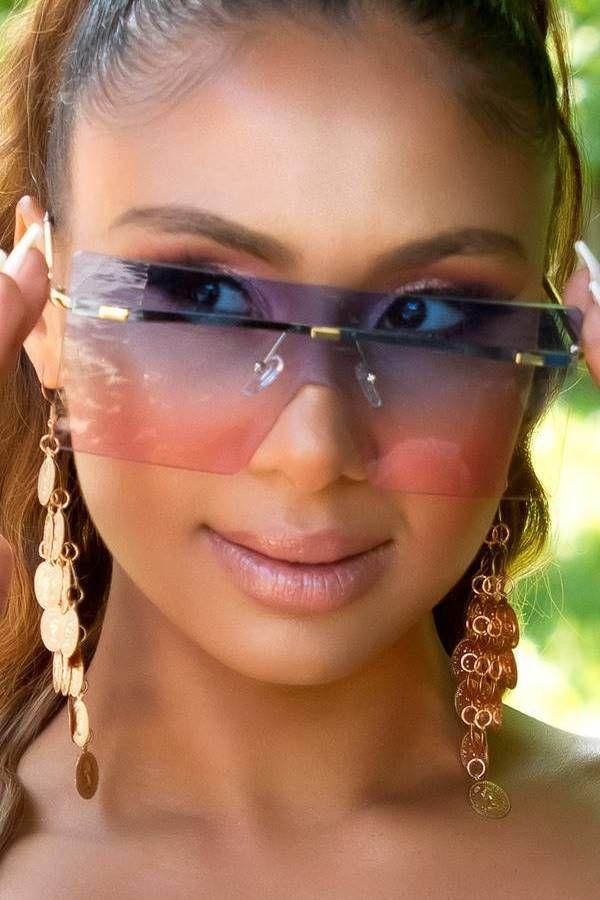 Γυαλιά Ηλίου Σέξι Ορθογώνια Rimless Μπλε ISDR711292