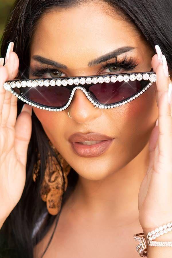 Γυαλιά Ηλίου Σέξι Στρας Μαύρα ISDR0240191