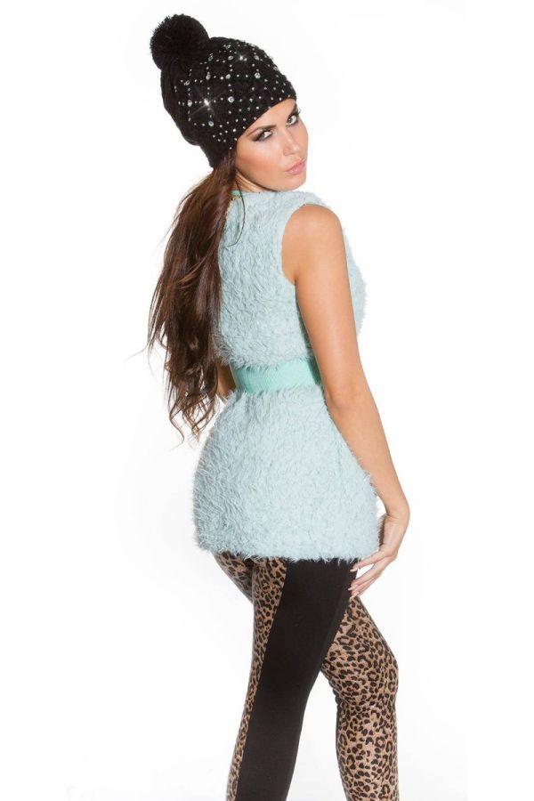 Vest Fur Zip Belt Turquoise ISDF100621