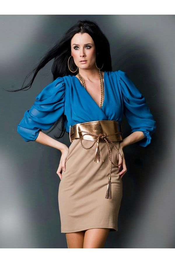 elegant pencil coctail dress with three quarters sleeves and golden belt blue beige