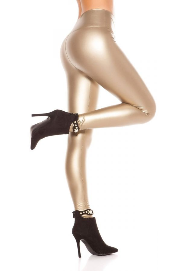 gold wet look thermo leggings.