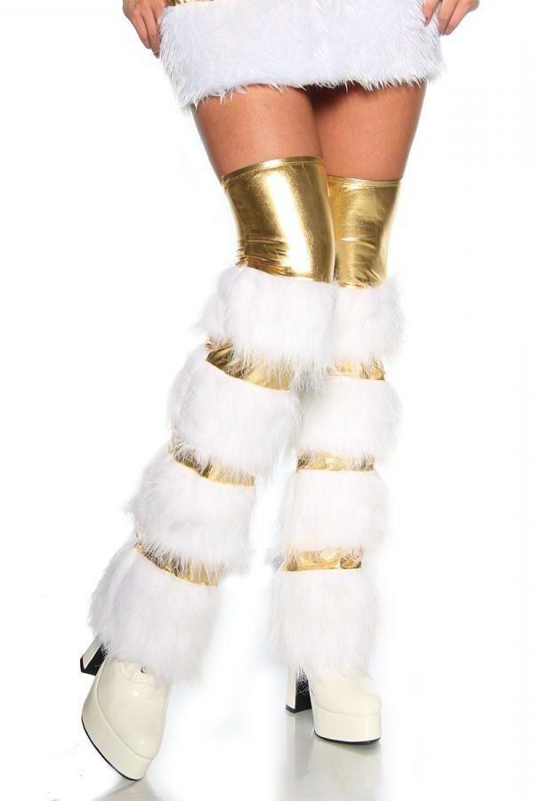 γκέτες ένθετη άσπρη γούνα wetlook χρυσές.