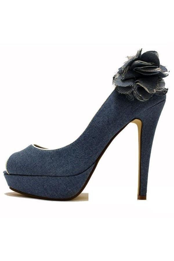 peep toe pumps decoration jean blue.