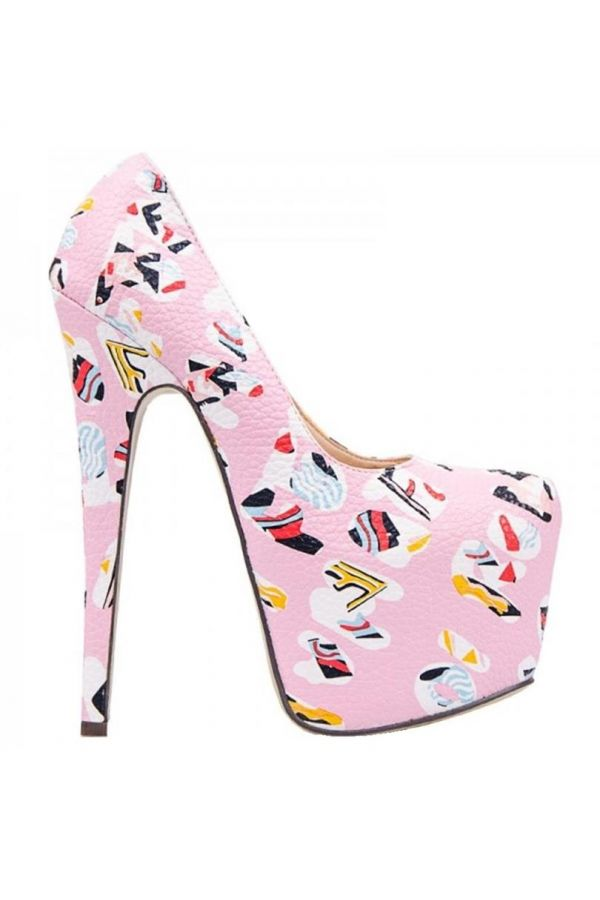 PUMPS HIGH HEELS PLATFORM GRAFFITI PINK JDK0026
