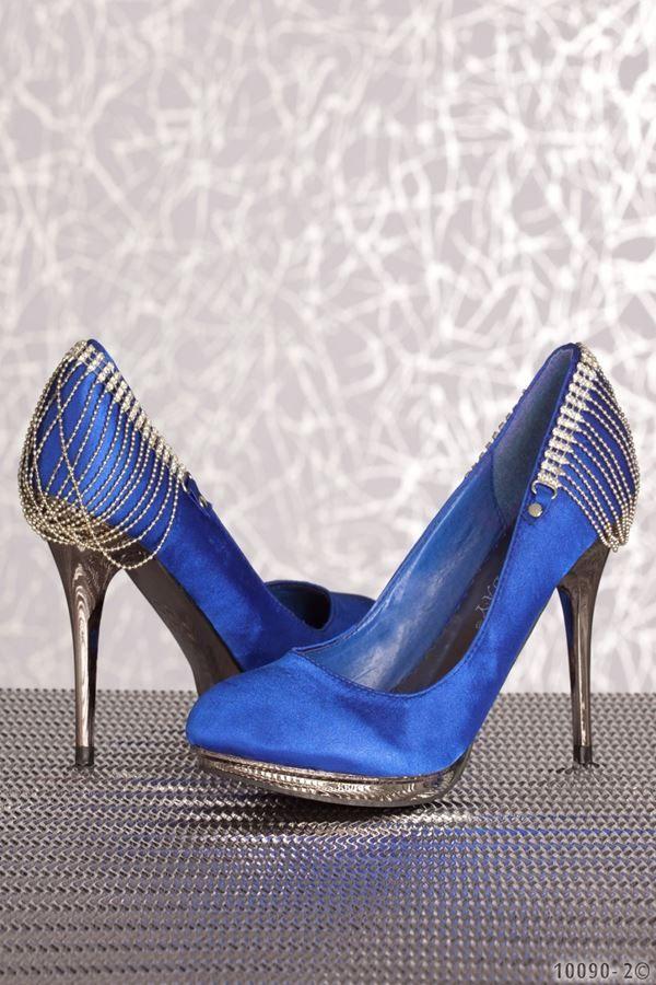 γόβα βραδινή σατέν μπλε με ασημί τακούνι και διακόσμηση