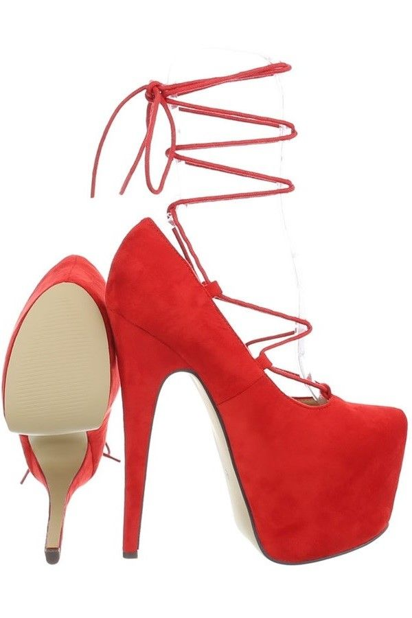 PUMPS HIGH HEEL SUEDE RED FSWX511