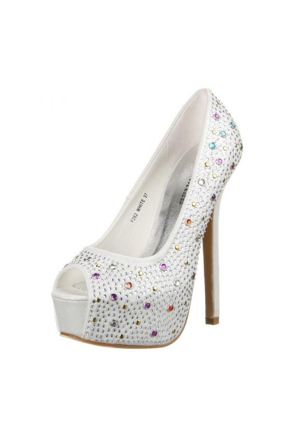 PEEP TOE PUMPS RHINESTONES SATIN WHITE SWF262