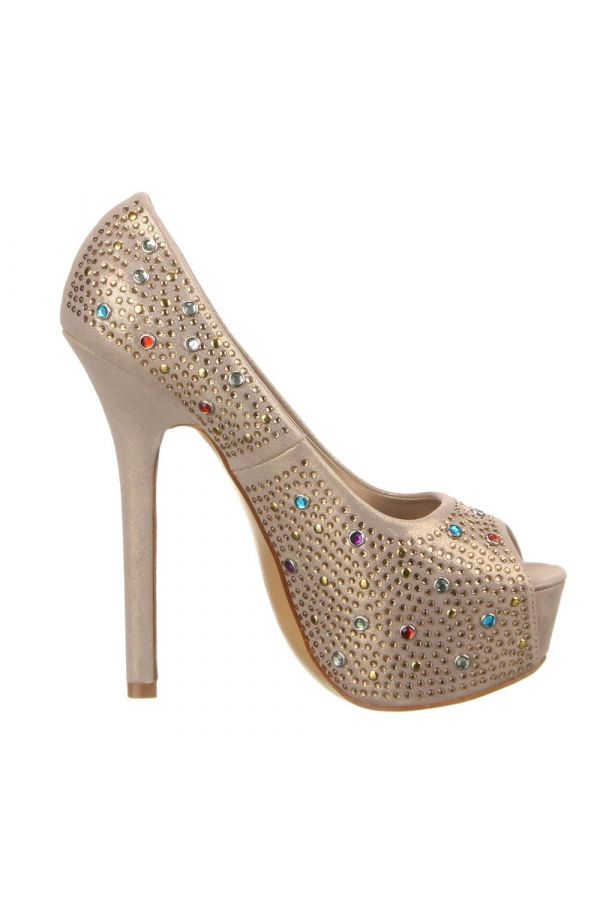 PEEP TOE PUMPS RHINESTONES SATIN GOLD SWF262