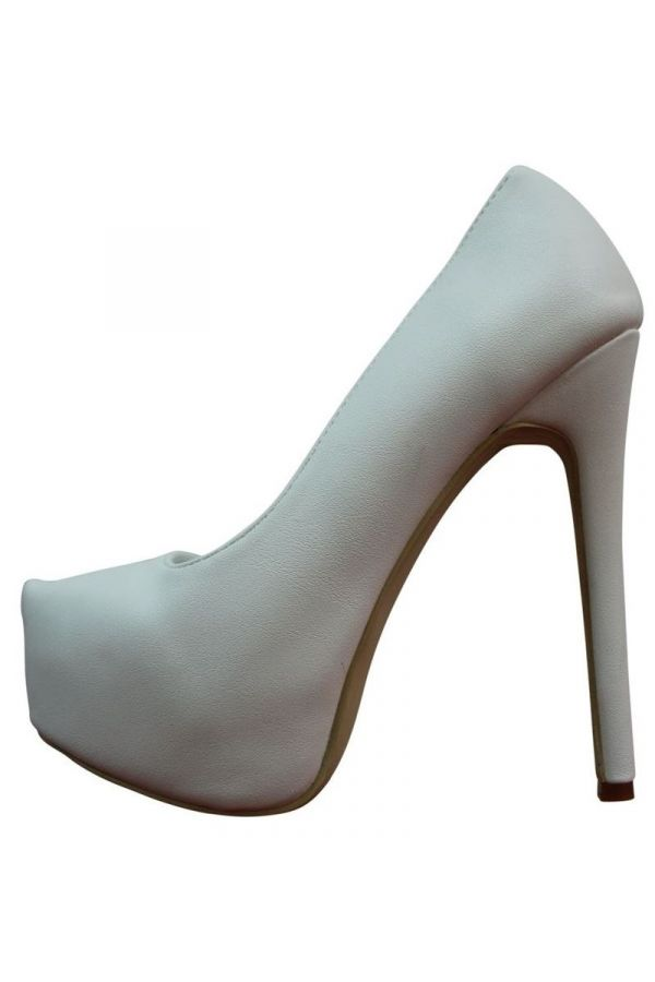 PUMPS HIGH HEELS PLATFORM WHITE PARSZ527