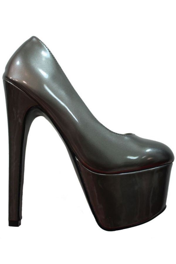 PUMPS SEXY HIGH HEELS PATENT GREY METALLIC PARSM007