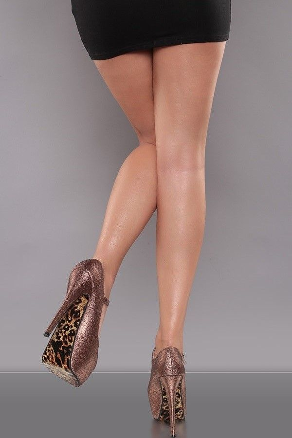 PUMP HIGH HEELS STRAP GLITER BRONZE ISDF14381