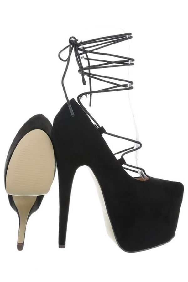 PUMPS HIGH HEEL PLATFORM SUEDE BLACK FSWK0021