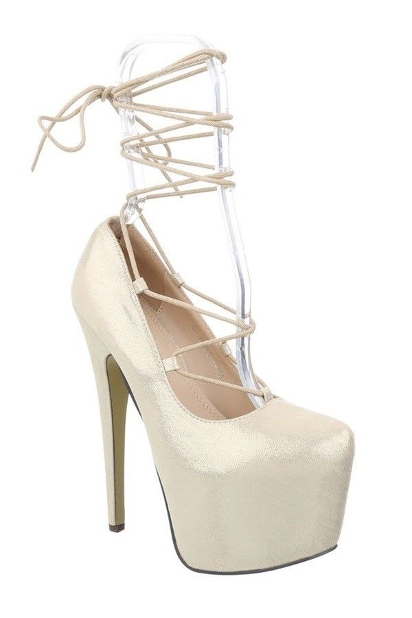PUMPS HIGH HEEL SATIN GOLD FSWX511