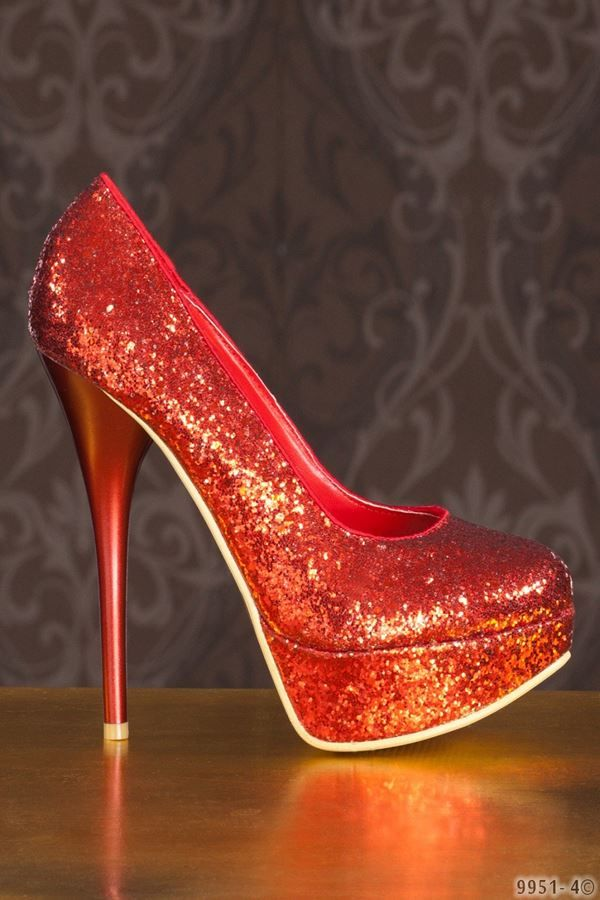red pumps formal glitter