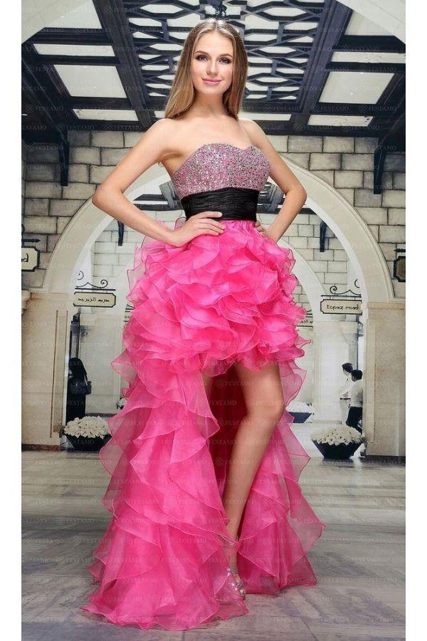 βραδινό στράπλες φόρεμα δεξιώσεων κοντό μπροστά μακρύ πίσω με ουρά διακοσμημένο κρυσταλλικές πέτρες στήθος φούξια