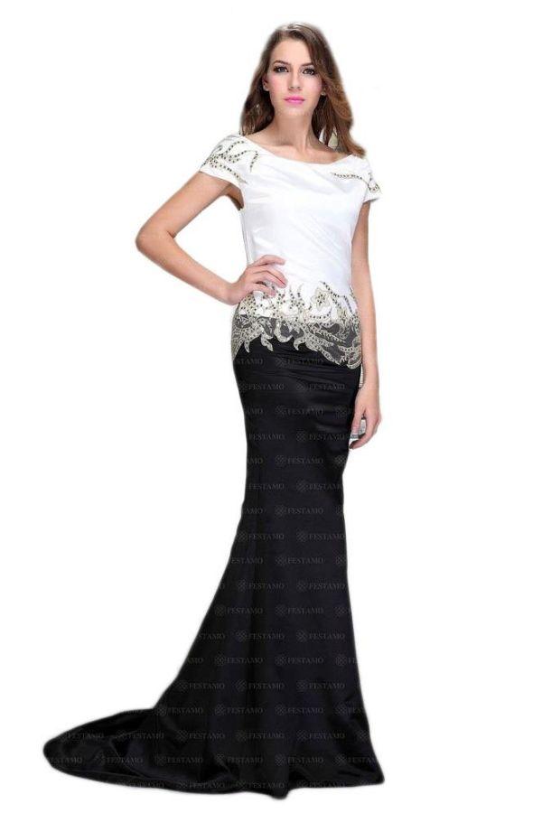 επίσημο βραδινό στράπλες μακρύ φόρεμα διακοσμημένο με όμορφα σχέδια από δαντέλα και παγιέτες μαύρο άσπρο