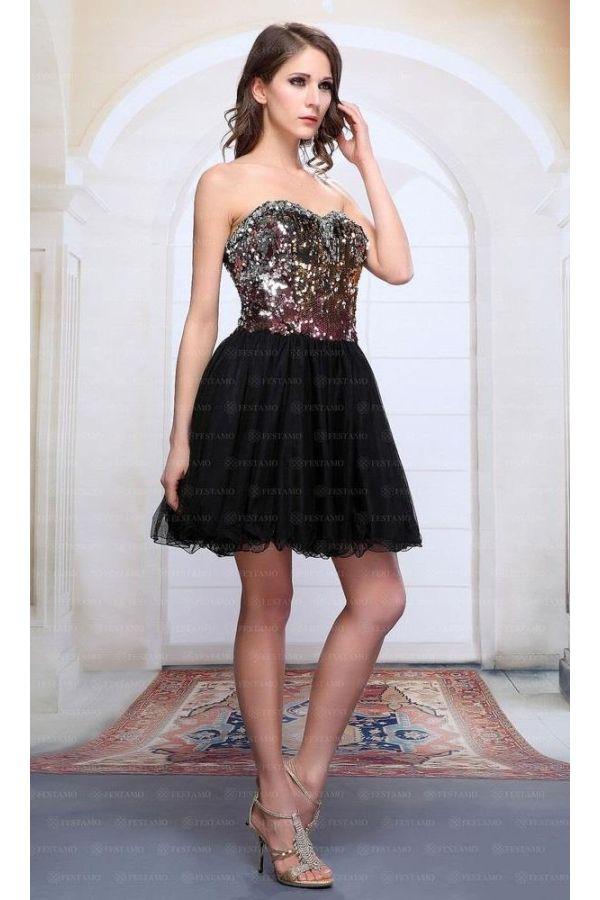 βραδινό στράπλες φόρεμα διακοσμημένο με πέτρες και παγιέτες στο στήθος μαύρο