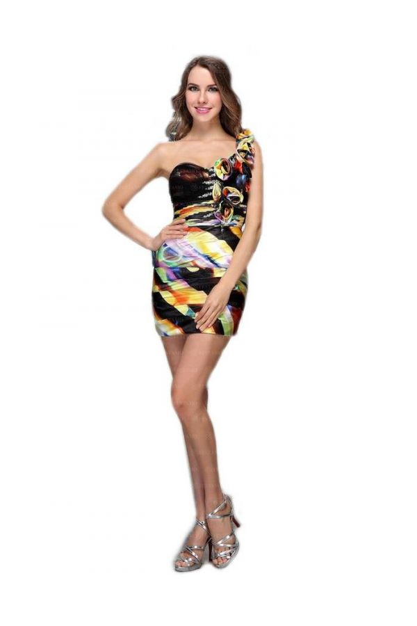 cocktail asymmetric with one shoulder dress decorated with flowers and rhinestones multicolor