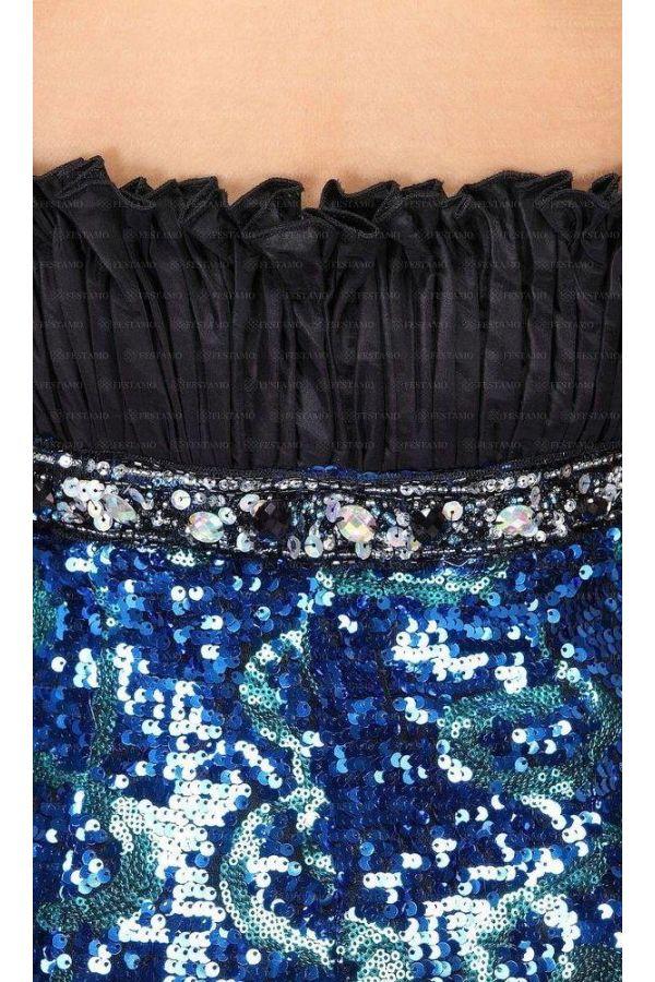 επίσημο βραδινό μακρύ στραπλες γοργονέ φόρεμα με παγιέτες διακοσμημένο με πέτρες σατέν μαύρο μπούστο μπλε