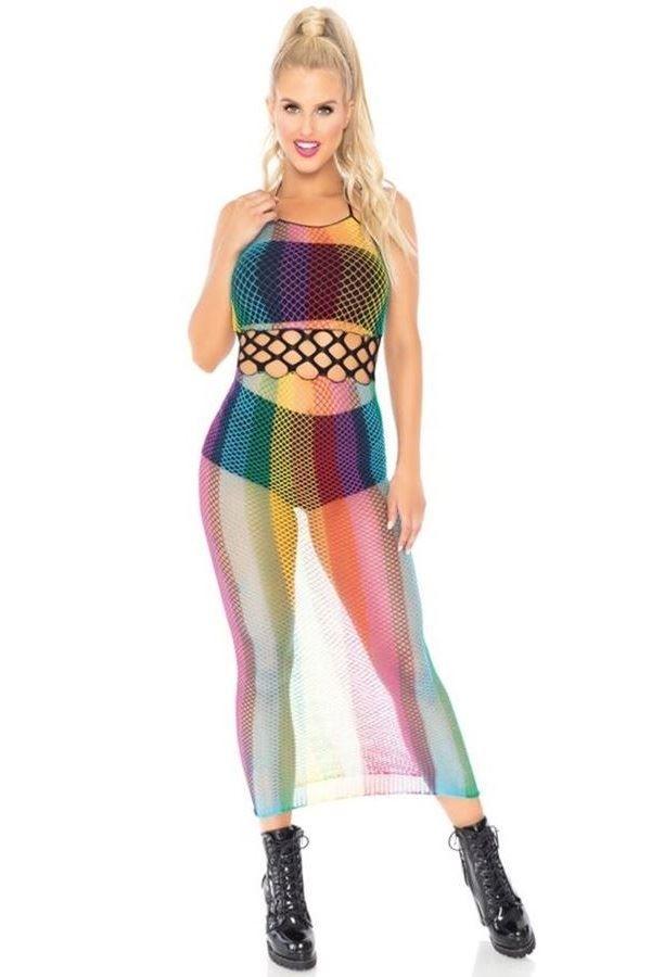 dress long net multicolored.