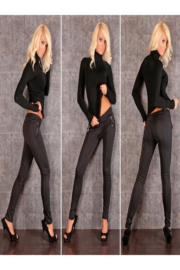 women elastic tight pants decorated with zippers black