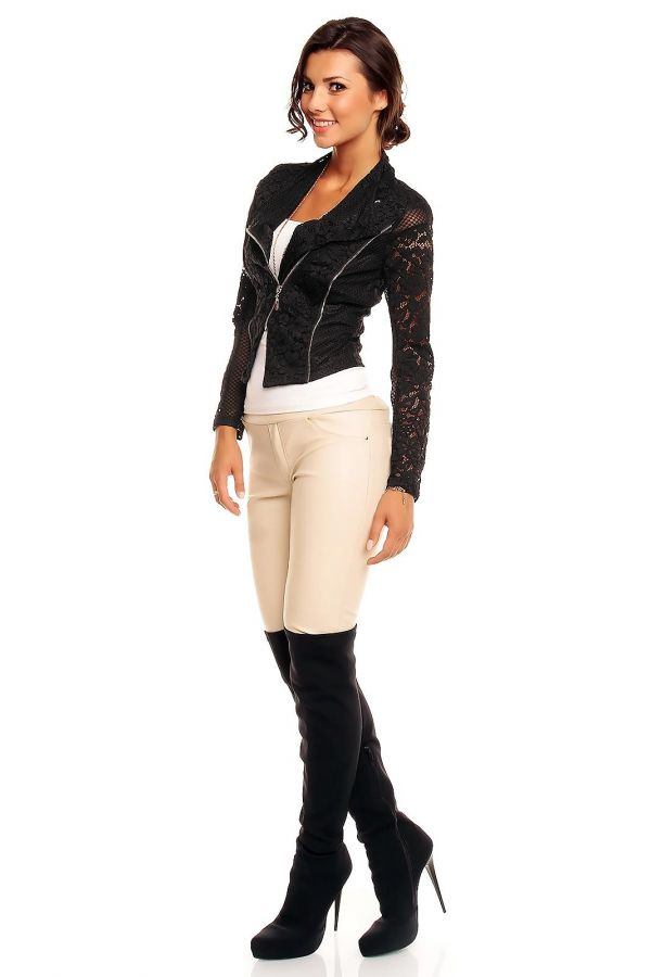 κομψό κοντό μπουφάν δαντέλα φερμουάρ μαύρο