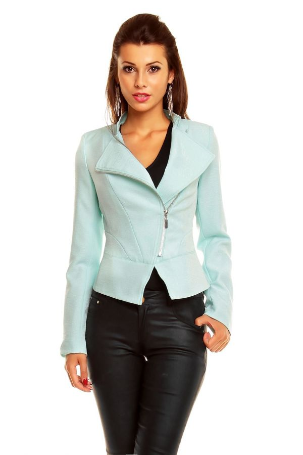 BLAZER BREASTED STAND UP COLLAR TURQUOISE HS15388