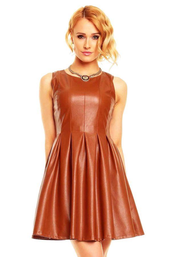 φόρεμα αμάνικο κλος δερματίνη κάμελ.