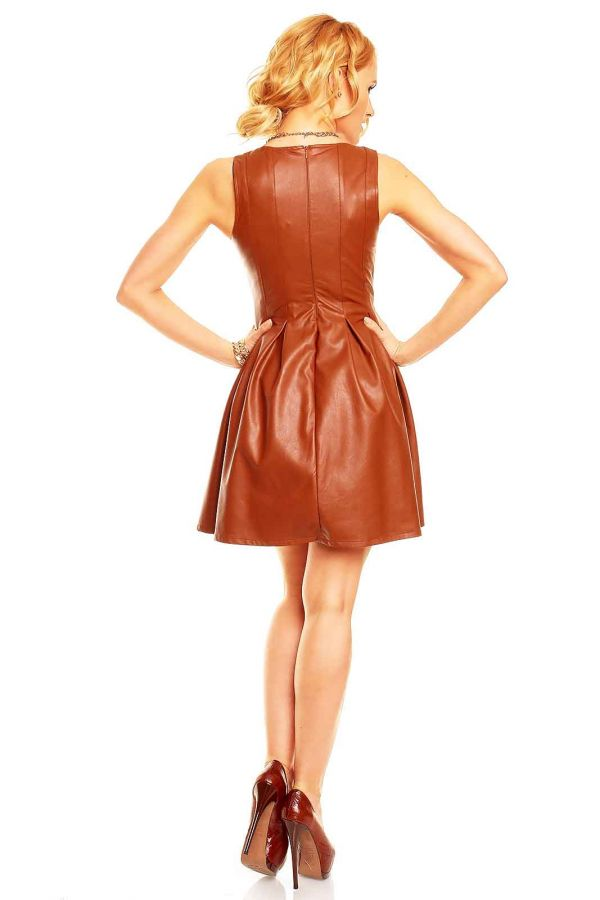 DRESS SLEEVELESS KLOS LEATHERETTE CAMEL HS33042