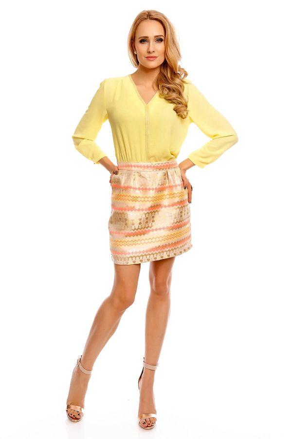 φόρεμα κίτρινο κοκτέιλ πολύχρωμη φούστα τσέπες εντυπωσιακό