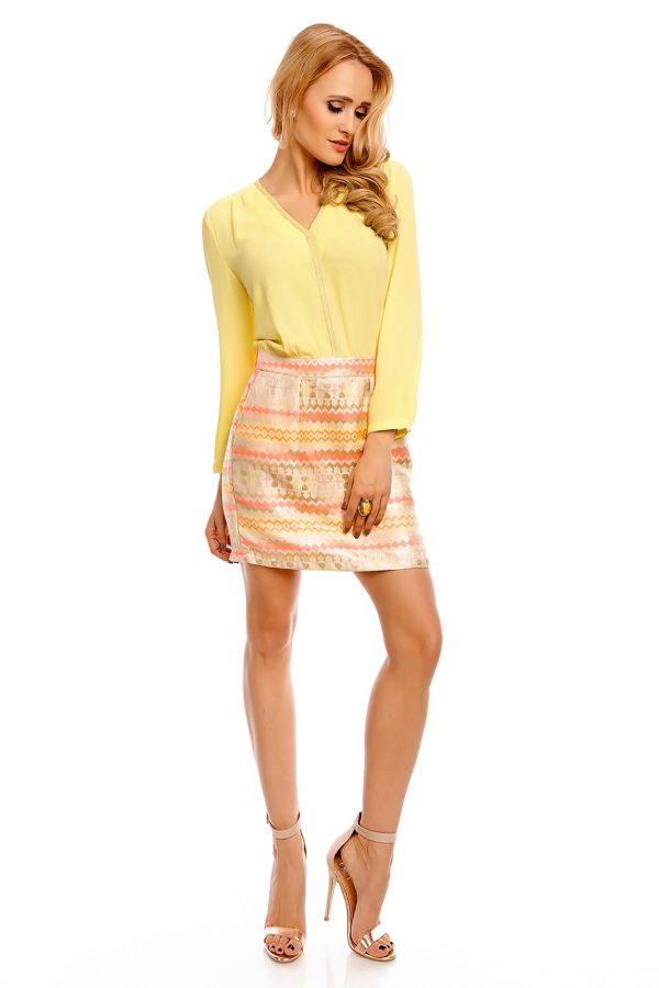 HSE500222 DRESS COCKTAIL MULTICOLOR YELLOW