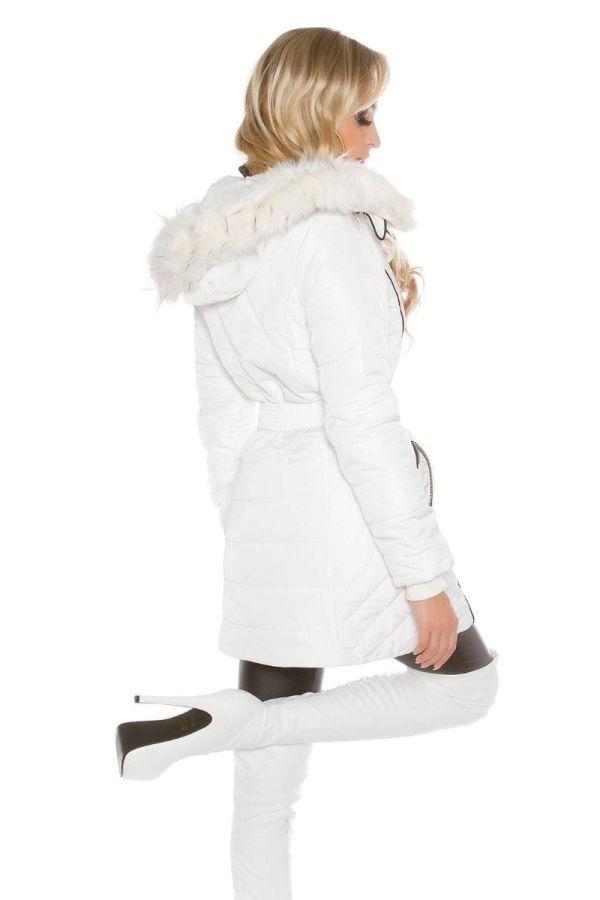 Ημίπαλτο Elegant Επένδυση Γούνα Κουκούλα Άσπρο ISDJ151240