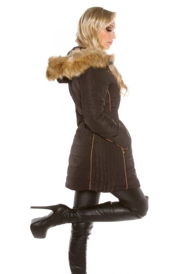 Ημίπαλτο Elegant Επένδυση Γούνα Κουκούλα Μαύρο ISDJ151830