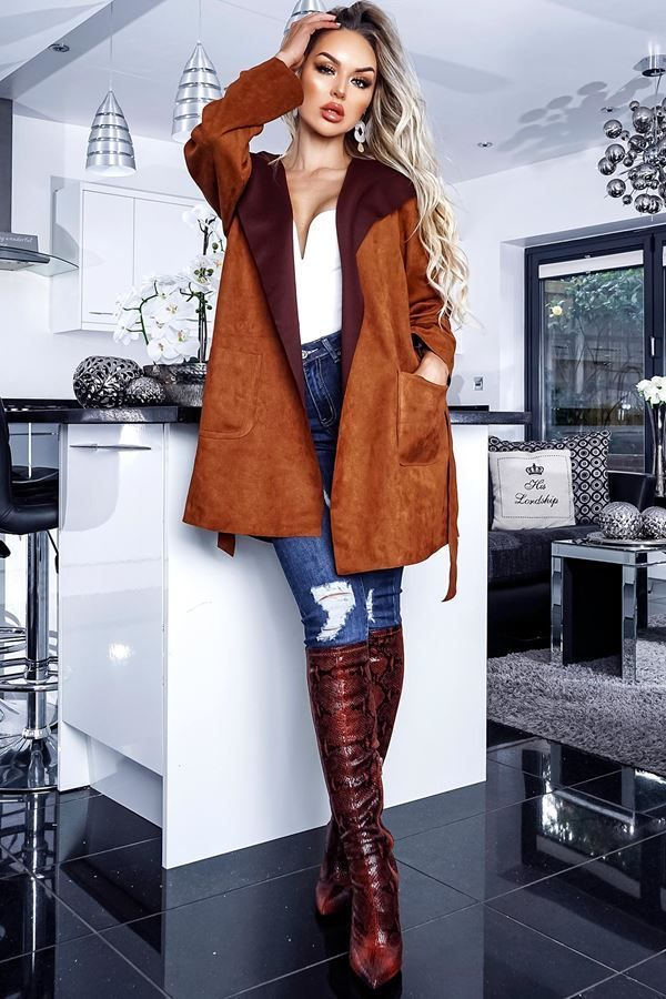 SEMI COAT HOODED SUEDE BROWN CAT20NISH