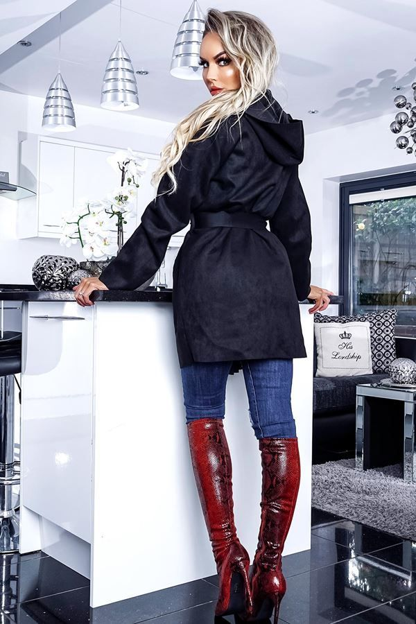 SEMI COAT HOODED SUEDE BLACK CAT20NISH