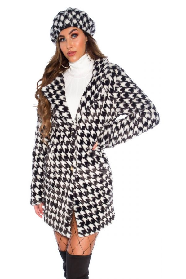 ημίπλατο γούνινο pie de poul άσπρο μαύρο.