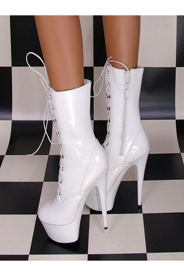 high heels ankle boot patent leather white