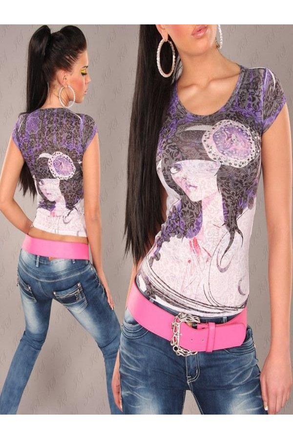 γυναικεία μπλούζα με κοντά μανίκια διακοσμημένη με πολύχρωμα τυπωμένα σχέδια και στρας μωβ
