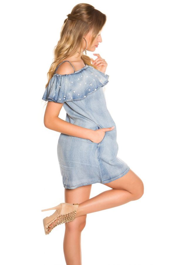 jean sleeveless dress with pearls and pockets light blue