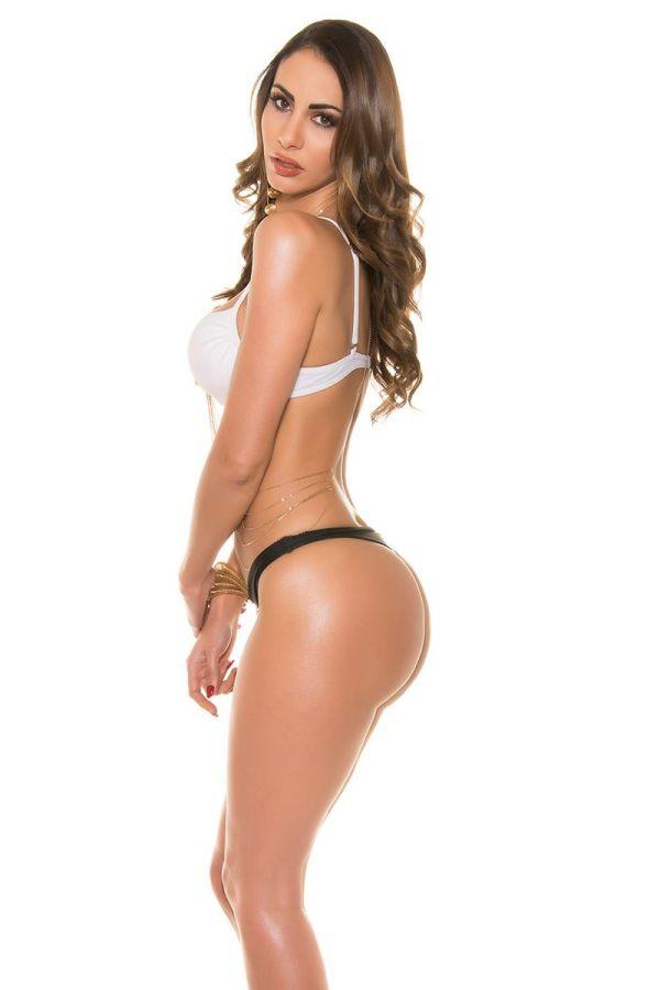 sexy impressive bicoloured bikini swimwear set consisting white padded neckholder bra bottom black thong and slip decorated with strass