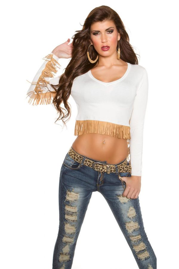 short knitted blouse with beige fringes white