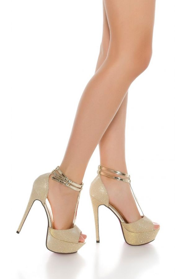 high heel patent sandal with glitter and platform gold