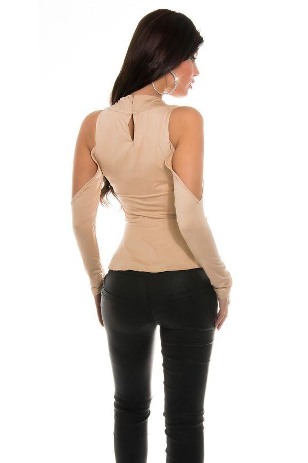 formal asymmetric long front top beige