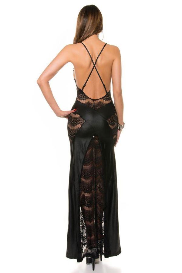 μάξι φόρεμα σέξι wet look με δαντέλα και εντυπωσιακή ανοιχτή πλάτη μαύρο