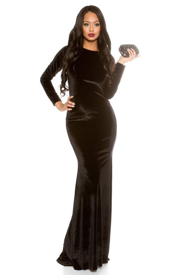 φόρεμα μάξι ουρά βραδινό βελούδινο χιαστή πλάτη μαύρο.