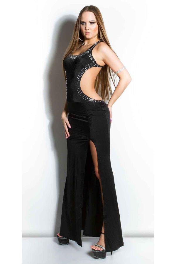 σέξι μάξι φόρεμα στρας ανοιχτή πλάτη σκισίματα μαύρο