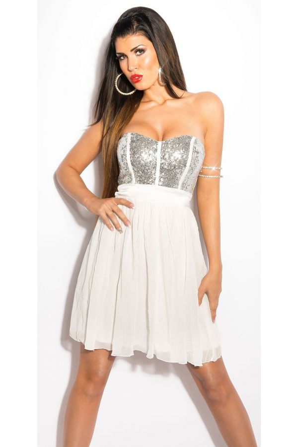 ISD5014352 DRESS FORMAL SEQUINS WHITE