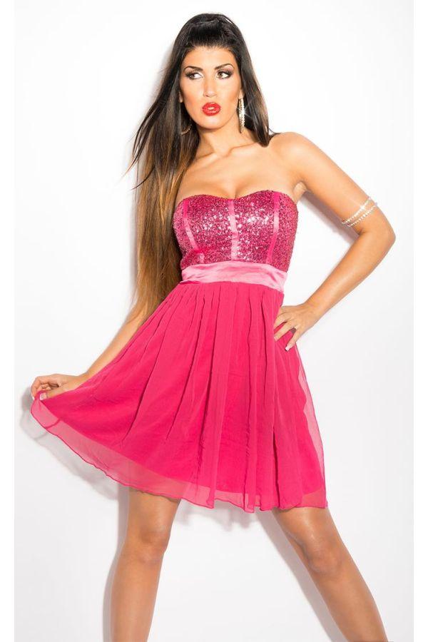κοντό φούξια κοντό αμπιγιέ στράπλες βραδινό φόρεμα βολάν φούστα λαμπερό τοπ παγιέτες