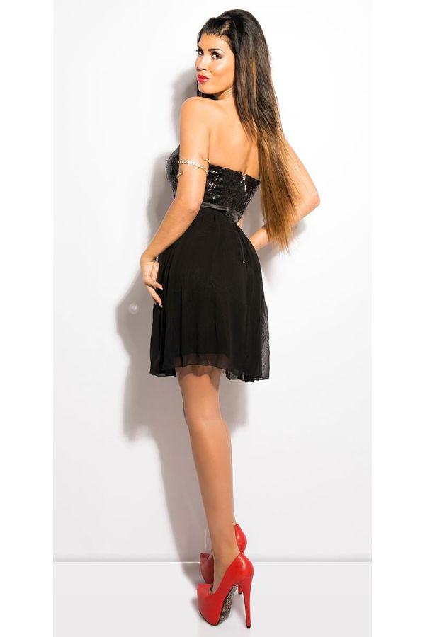 κοντό μαύρο αμπιγιέ στράπλες βραδινό φόρεμα βολάν φούστα λαμπερό τοπ παγιέτες